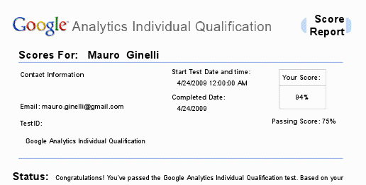 Google Analytics Individual Qualification - risultato (94%)