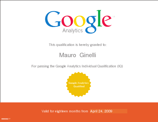Google Analytics Individual Qualification (IQ) - Mauro Ginelli