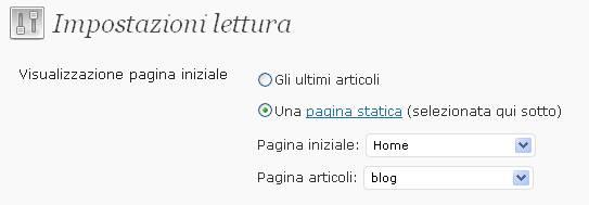 Amministrazione WordPress: Impostazioni -> Lettura