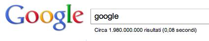 Numero risultati ricerca su Google